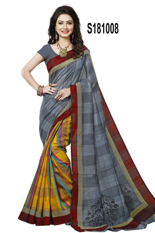 Grey And Multi Color Bhagalpuri Silk Saree - S181008