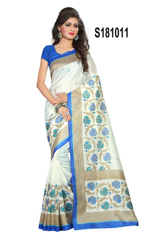 White Color Bhagalpuri Silk Saree - S181011