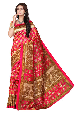 Tamato Red Color Mysore Silk Printed Saree - S181035