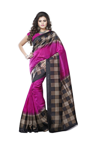 Pink Color Mysore Silk Printed Saree - S181037