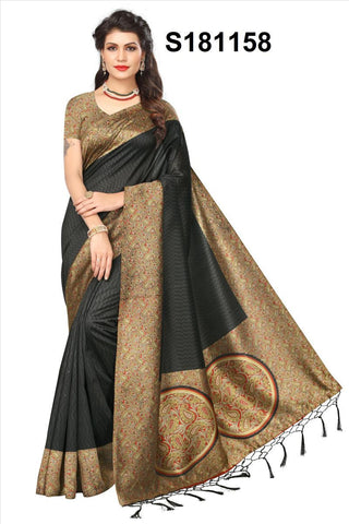 Black Color Mysore Kalamkari Silk Jhalor Saree - S181158