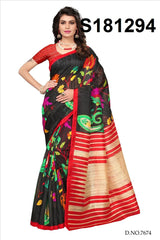 Buy Black Color Bhagalpuri Silk Saree