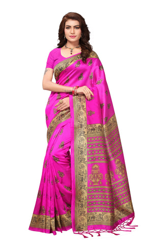 Pink Color Mysore Silk with Tesals Printed Saree - S181412