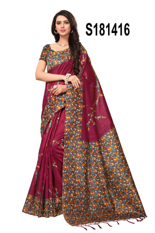 Magenta Color Kashmiri Silk Jhalor Saree - S181416
