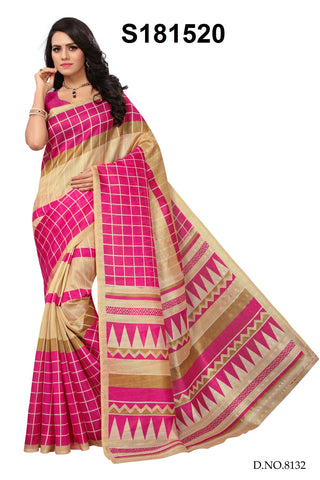 Pink And Beige Color Bhagalpuri Silk Saree - S181520