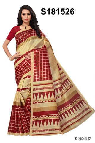 Maroon And Beige Color Bhagalpuri Silk Saree - S181526