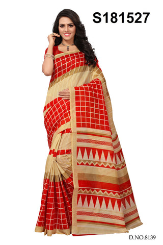 Red And Beige Color Bhagalpuri Silk Saree - S181527