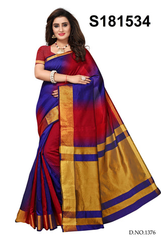 Blue And Red Color Cotton Silk Saree - S181534