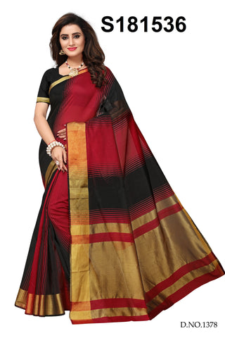 Black And Red Color Cotton Silk Saree - S181536