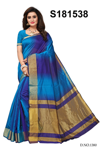 Sky Blue And Blue Color Cotton Silk Saree - S181538