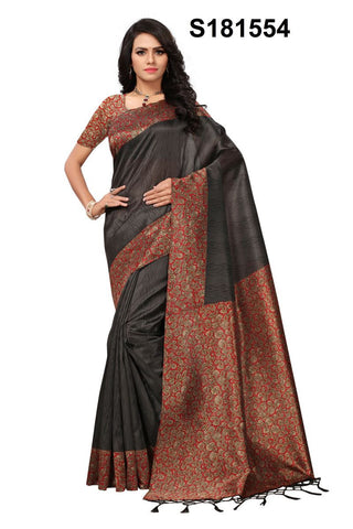 Black Color Mysore Kalamkari Silk Jhalor Saree - S181554