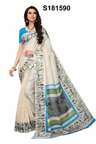 Beige Color Khadi Silk Women's Saree - S181590