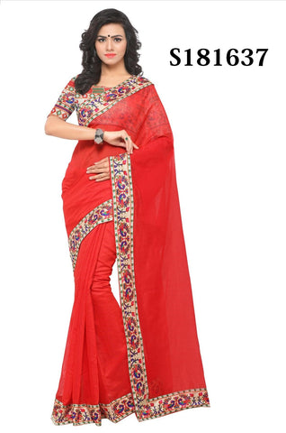 Red Color Chanderi Cotton Saree - S181637
