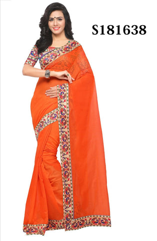 Orange Color Chanderi Cotton Saree - S181638