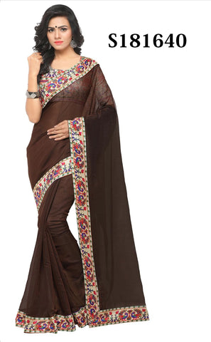 Brown Color Chanderi Cotton Saree - S181640