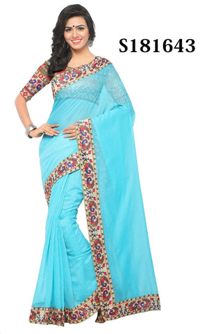 Sky Blue Color Chanderi Cotton Saree - S181643