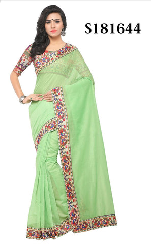 Light Green Color Chanderi Cotton Saree - S181644