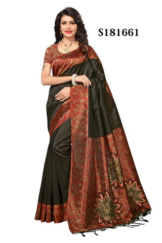 Black Color Mysore Kalamkari Silk Jhalor Saree - S181661