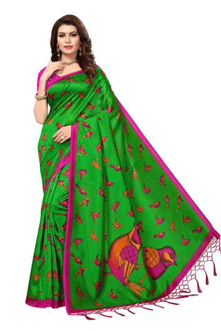 Green Color Mysore Silk with Tesals Kalamkari Printed Saree - S181671