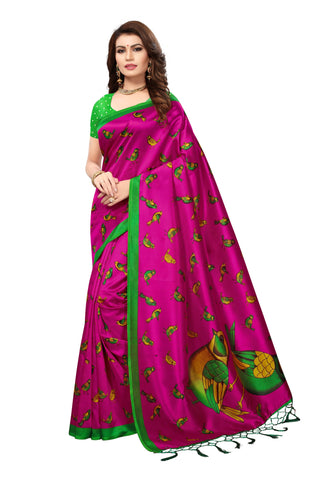 Pink Color Mysore Silk with Tesals Kalamkari Printed Saree - S181672