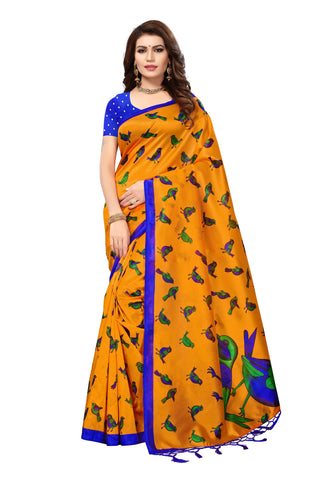 Dark Yellow Color Mysore Silk with Tesals Kalamkari Printed Saree - S181673