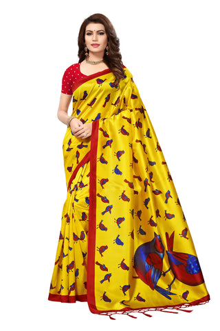 Light Yellow Color Mysore Silk with Tesals Kalamkari Printed Saree - S181674