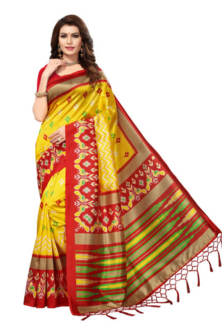 yellow Color Mysore Silk with Tesals Kalamkari Printed Saree - S181678