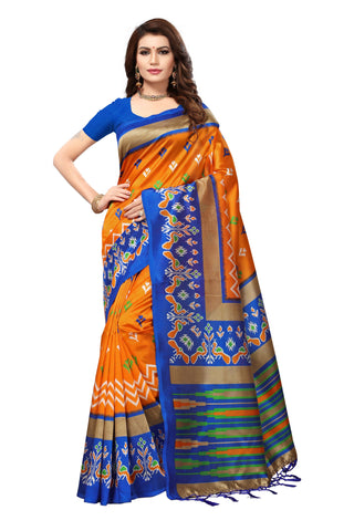 Orange Color Mysore Silk with Tesals Kalamkari Printed Saree - S181679