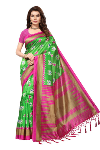 Green Color Mysore Silk with Tesals Kalamkari Printed Saree - S181685