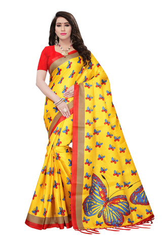 yellow Color Mysore Silk with Tesals Kalamkari Printed Saree - S181720