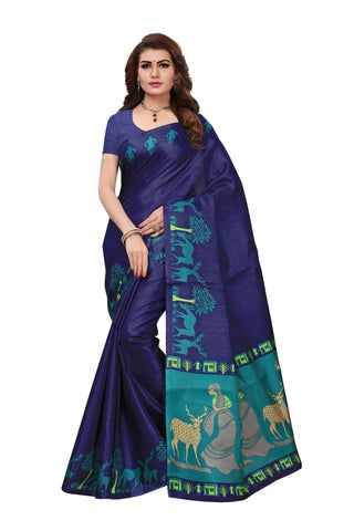Blue Color Khadi Silk Printed Saree - S181727