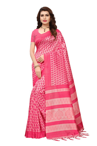 Pink Color Mysore Silk with Tesals Kalamkari Printed Saree - S181755