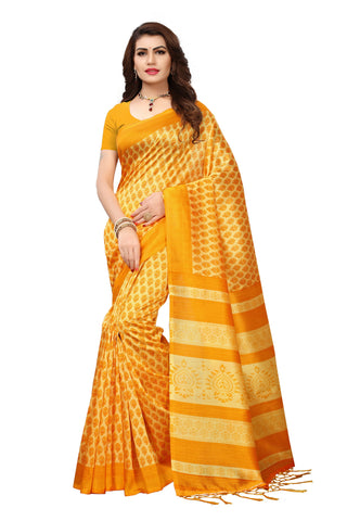 yellow Color Mysore Silk with Tesals Kalamkari Printed Saree - S181757