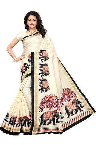 Beige Color Khadi Silk Printed Saree - S181780