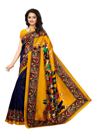 Blue and Yellow Color Kalamkari Mysure Silk Saree - S181781