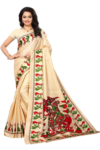 Beige Color Khadi Silk Printed Saree - S181783