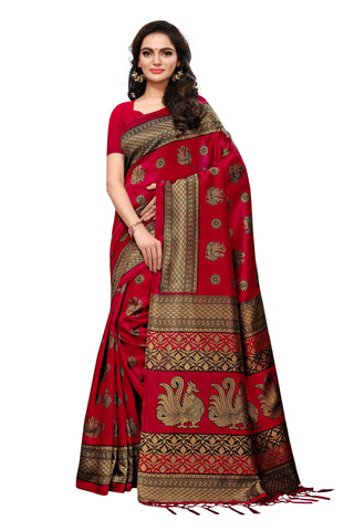Red Color Mysore Silk with Tesals Kalamkari Printed Saree  - S181840