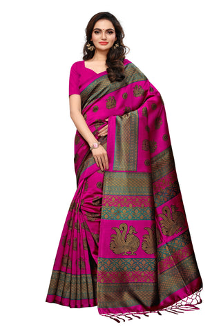 Pink Color Mysore Silk with Tesals Kalamkari Printed Saree  - S181842