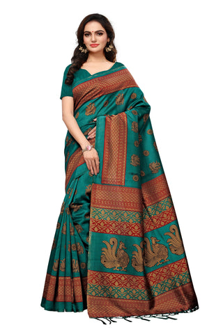 Sea Green Color Mysore Silk with Tesals Kalamkari Printed Saree  - S181843