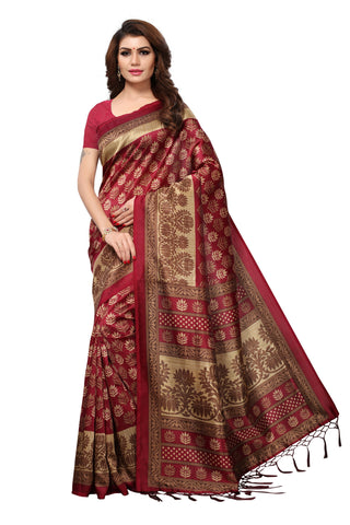Maroon Color Mysore Silk with Tesals Kalamkari Printed Saree  - S181937