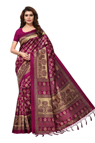 Magenta Color Mysore Silk with Tesals Kalamkari Printed Saree  - S181938