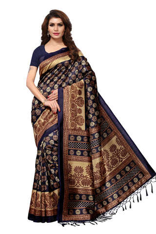 Black Color Mysore Silk with Tesals Kalamkari Printed Saree  - S181939