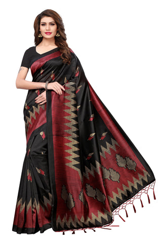 Black Color Mysure Kalamkari Silk Saree - S181988