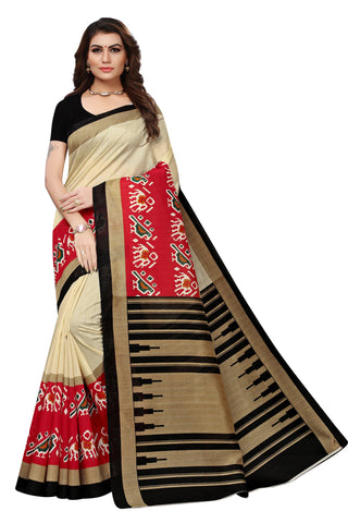 Cream Color Bhagalpuri Silk Saree - S182031