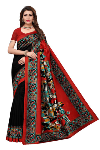 Black Color Mysore Kalamkari Silk Saree - S182097