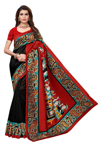 Black Color Mysore Kalamkari Silk Saree - S182098