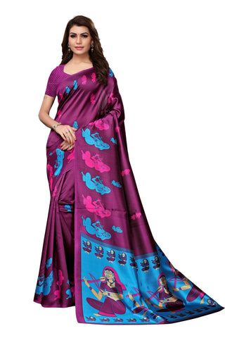 Magenta Color Mysore Kalamkari Silk Saree - S182179