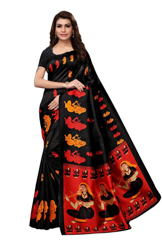 Black Color Mysore Kalamkari Silk Saree - S182180