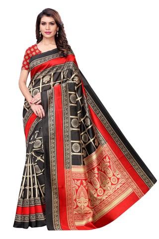 Black Color Kalamkari Mysure Silk Saree - S182440
