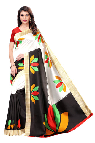 White and Black Color Kalamkari Mysure Silk Saree - S182442